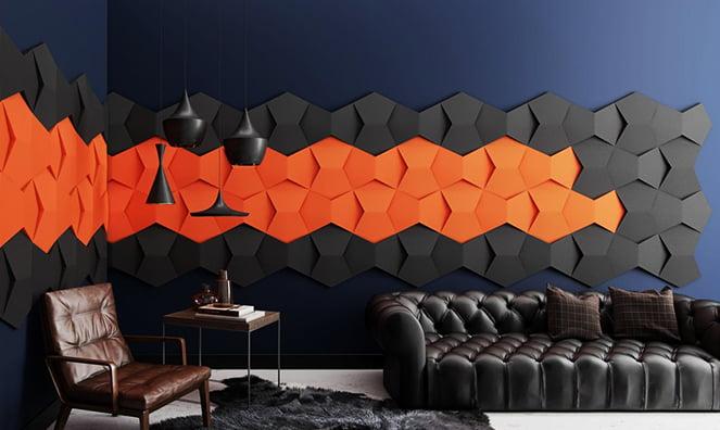 3d akustik kumaş kaplı duvar paneli