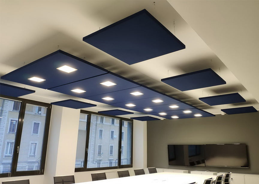 acoustic sound absorbers with lights for open workspace