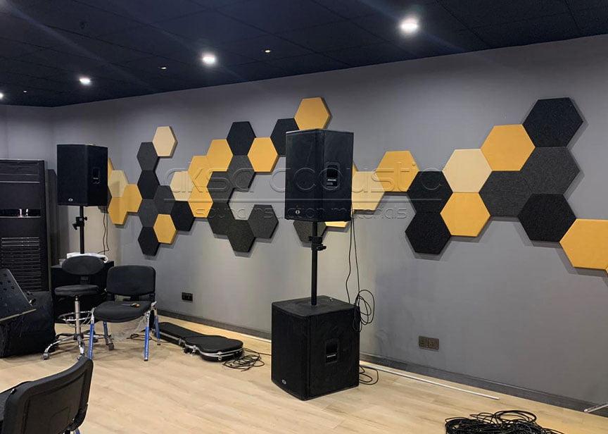 acoustic wall hexagonal fabric panels