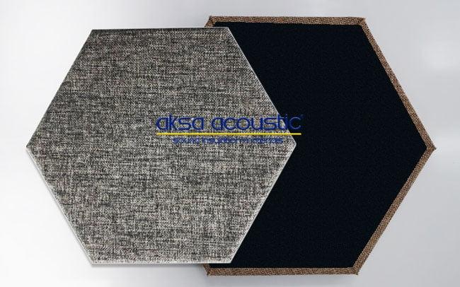 akustik altıgen kumaş kaplı duvar paneli