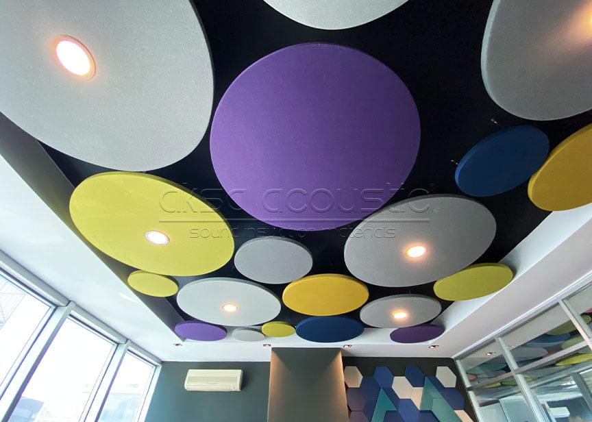 akustik daire yüzer tavan paneli