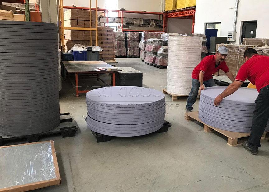 akustik kumaş kaplı panel paketleme