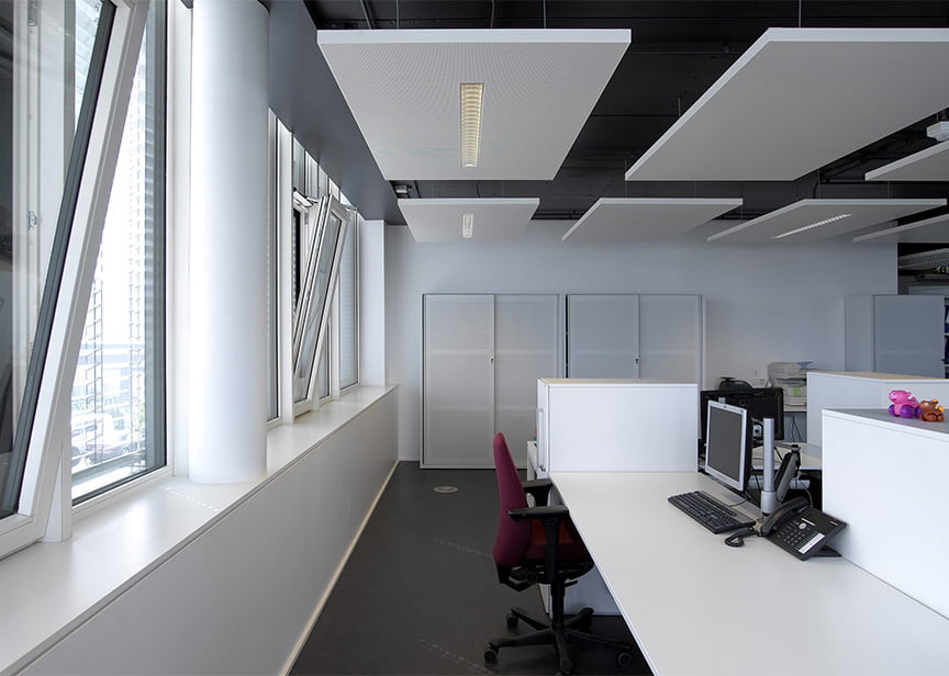 akustik kumaş kaplı tavan ses yalıtımı paneli