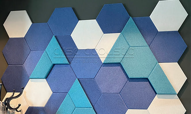 kumaş kaplı altıgen akustik paneller