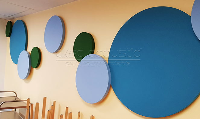 kumaş kaplı daire akustik paneller