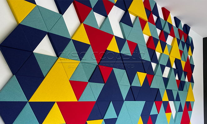 kumaş kaplı üçgen akustik paneller