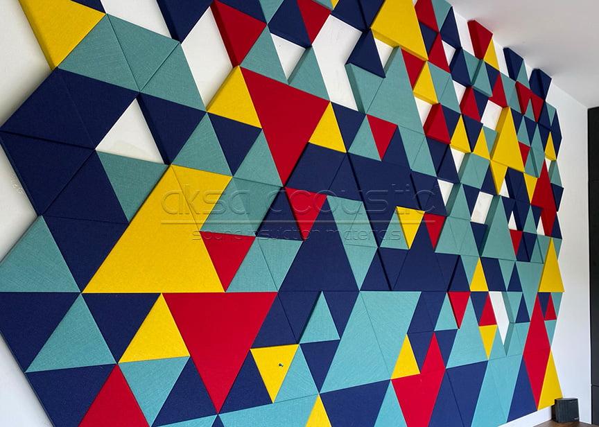 üçgen akustik kumaş kaplı panel fiyatları