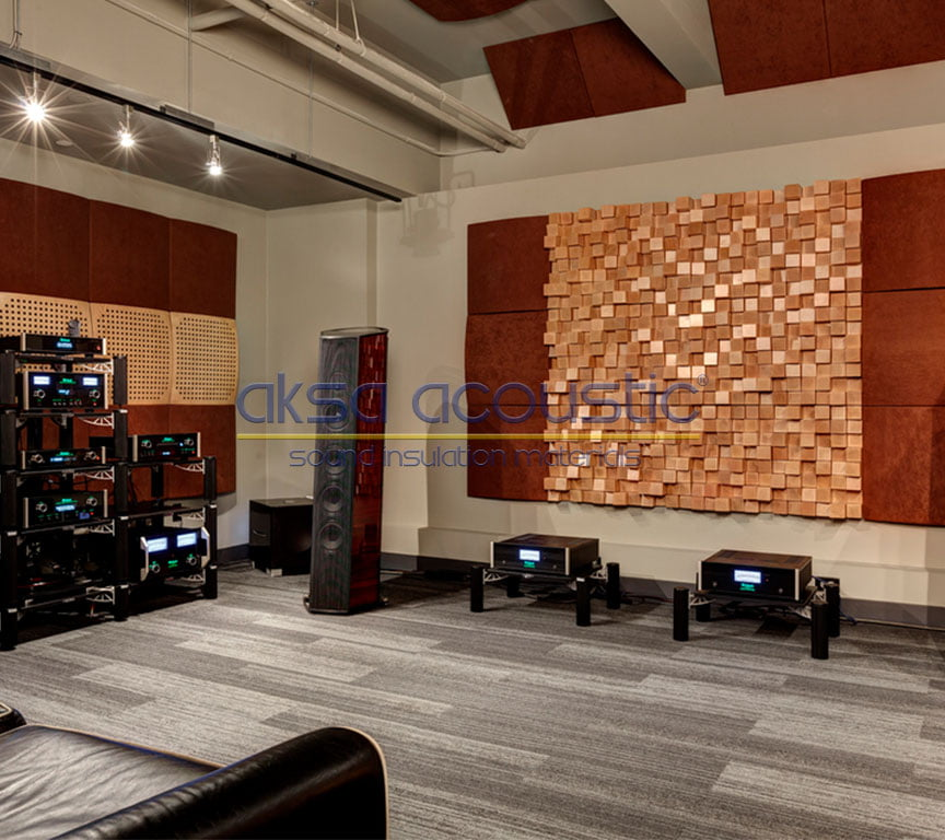 akustik ahşap difüzör stüdyo duvar kaplama