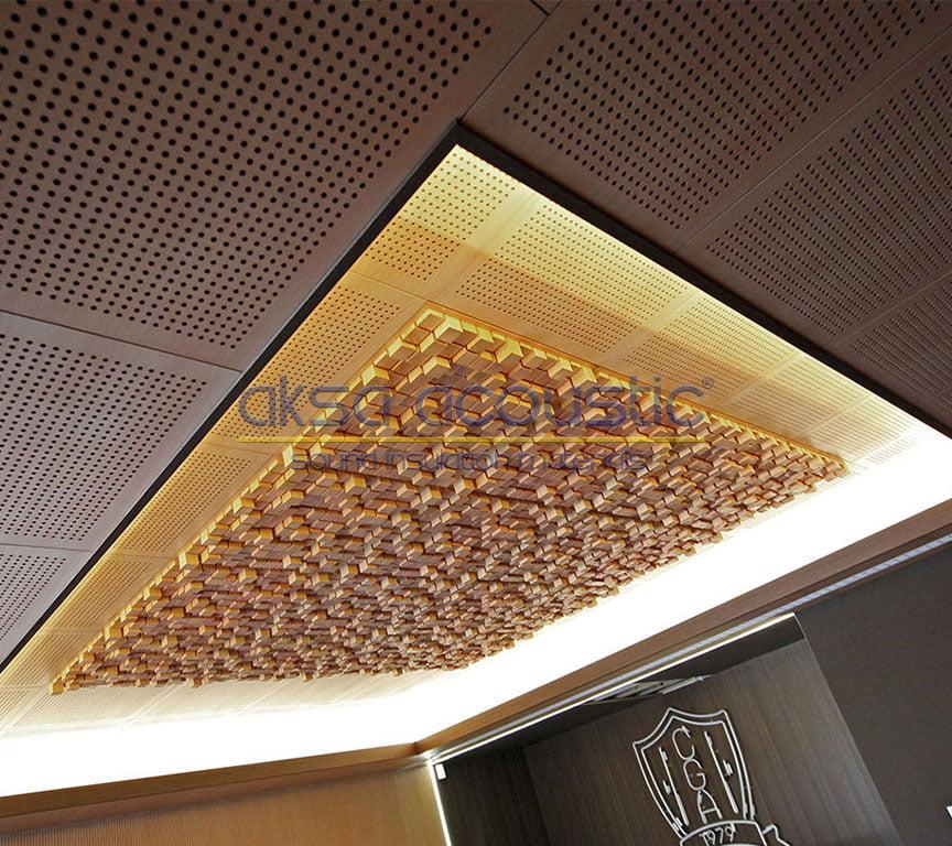 akustik ahşap difüzör stüdyo tavan kaplama