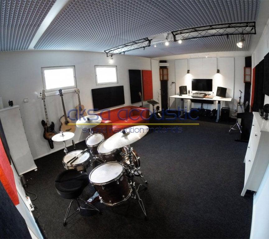 akustik müzik odası basotect sünger tavan kaplama