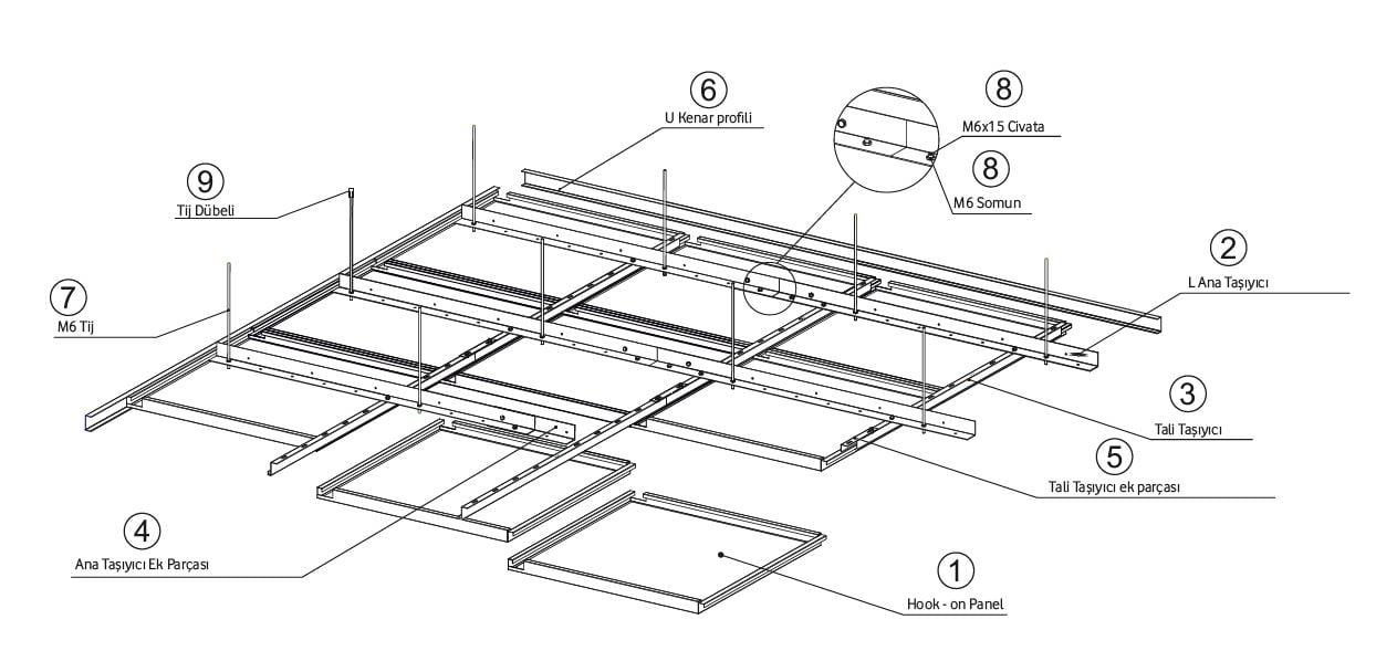 hook on metal asma tavan paneli taşıyıcı ve aksesuarları