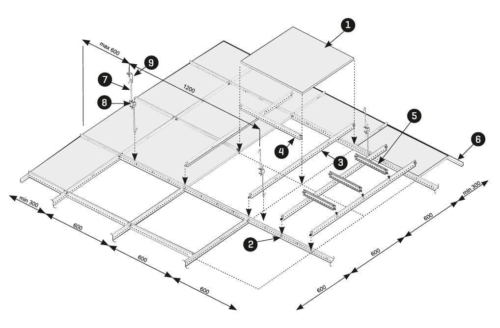lay in asma tavan paneli detayi