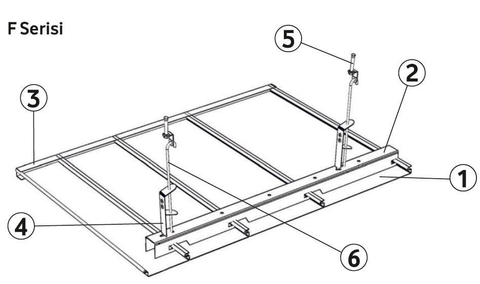 linear metal asma tavan paneli detayı
